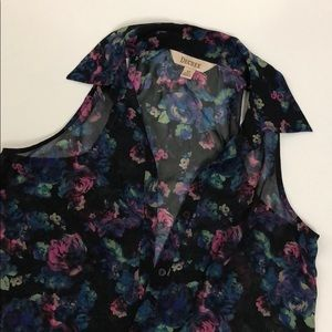 Decree XS Floral Blouse with Collar Neck